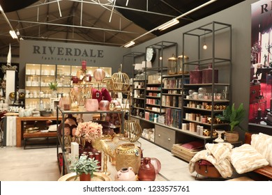 Cruquius, the Netherlands - october 26th 2018: Riverdale home accessories in a home decoration store. Riverdale is a Dutch home decoration and lifestyle brand