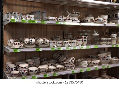 Cruquius, the Netherlands - october 26th 2018: Boerenbont crockery on display in an interior decoration shop. Boerenbont is a traditional pattern used on pottery from the Netherlands.