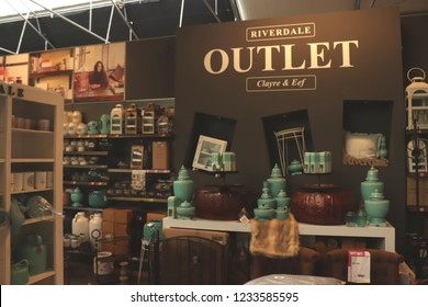 Cruquius, the Netherlands - october 26th 2018: Riverdale home accessories in outlet clearance department in a home decoration store. Riverdale is a Dutch home decoration and lifestyle brand
