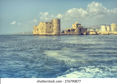 Crusader Sea Castle in saida , Sidon south Lebanon