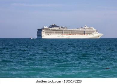 Cruse liner Splendida in sea, United Arab Emirates cruise, MSC vessel