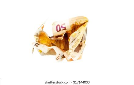 Crush 50 Euro bill