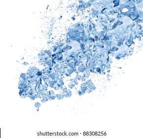 Crush ice isolated white background
