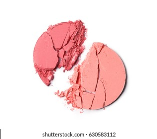 Crushed blush or face powder isolated on white