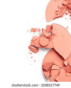 Crushed blush isolated on white background