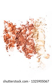 Crushed blusher dispersed on white background. Top view shot. Fashion and makeup conception.