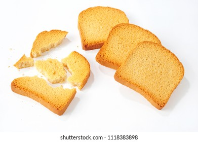 crushed bread rusks isolated over white background