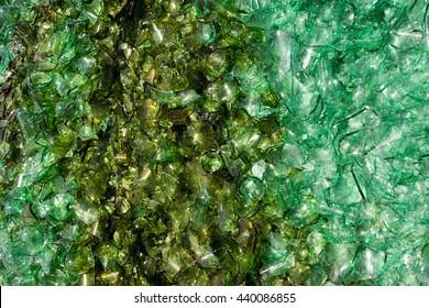 Crushed Broken Glass Bottle Recycle Sharp Green shards
