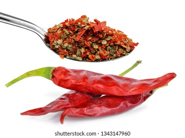 Crushed chillies on white