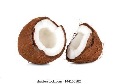 Crushed cocnut isolated on white background
