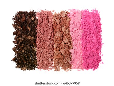 Crushed colored shiny eyeshadow as sample of cosmetic product isolated on white background