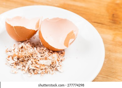 Crushed egg shells on plate