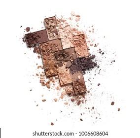 Crushed eye shadow isolated on white background