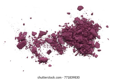 crushed eyeshadow, or blush, fashionable shade of the season, on a white background