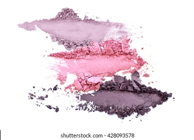 crushed eyeshadow makeup set isolated on white background