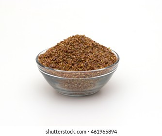 crushed flaxseed isolated