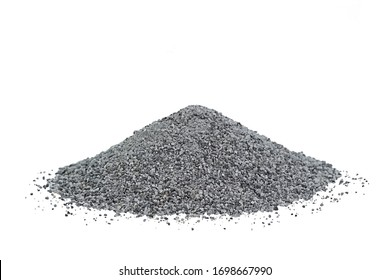 Crushed gray quartz on a white background in the form of a small pile. Industrial fraction is used in construction materials, water treatment and agriculture.