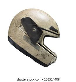 Helm-Seitenansicht auf weißem Hintergrund. Beschneidungspfad