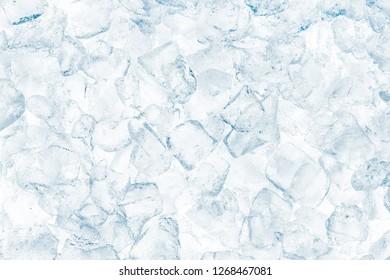 Crushed ice cubes on white background.