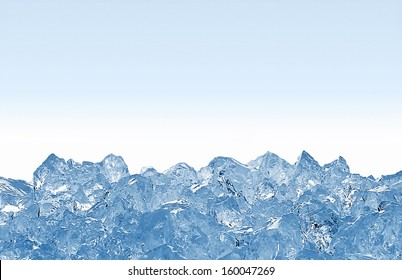 crushed ice on white background