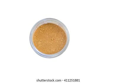 crushed natural powder make up on white background
