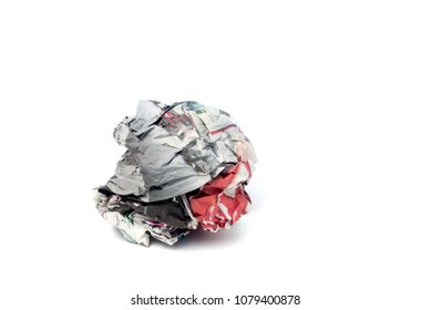 Crushed Newspaper ball isolated on white background.