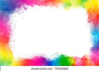 crushed powder color frame on white background