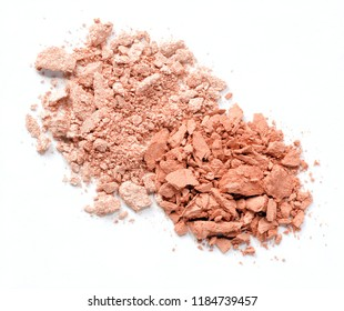 crushed red blush isolated over white background