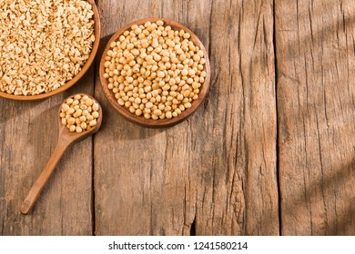 Crushed soybeans - Glycine max. Text space