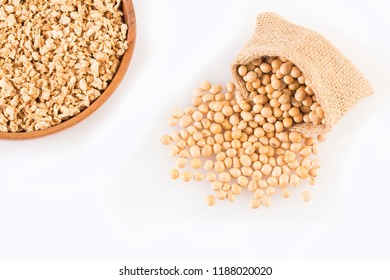 Crushed soybeans - Glycine max. White background
