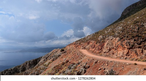 The crushed stone road on Crete Island