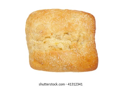 Crusty bread bun isolated on the white background