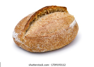 Crusty loaf of sourdough bread on white background. Artisan bread or traditional rustic bread isolated on white background.