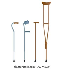 Crutches for the movement of people with broken legs. The illustration on a white background.