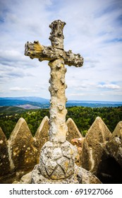 Cruz Alta-stone cross at the highest point of Bussaco park. Coimbra. Portugal