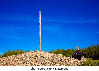 Cruz de Ferro top at Saint James Way Leon Spain