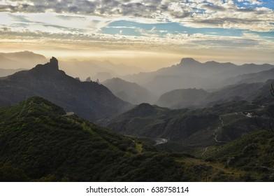 Cruz De tejeda mountain view on gran canaria Canary Island in Spain