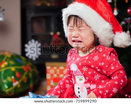 Crying Baby Girl Missing Her Christmas Stock Photo (Edit Now ...