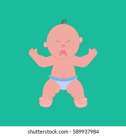 Crying baby illustration on the green background.  illustration