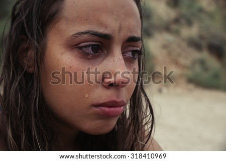 Crying Beauty Girl. Beautiful Model Woman Cry. Tears