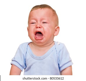 The crying boy, on  white background