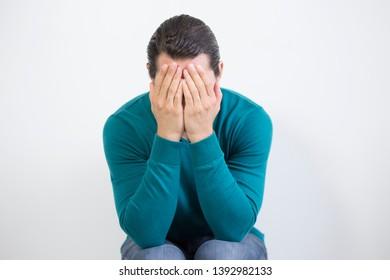 Crying depressed man. Nervous breakdown.