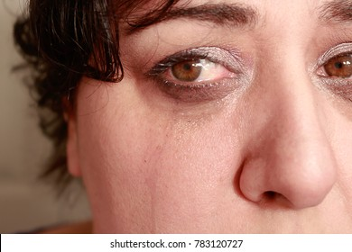 crying eyes  of woman