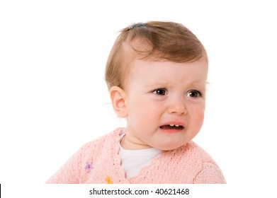 Crying little baby portrait isolated on white