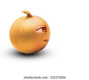 Crying onion photo manipulation/Yellow onion