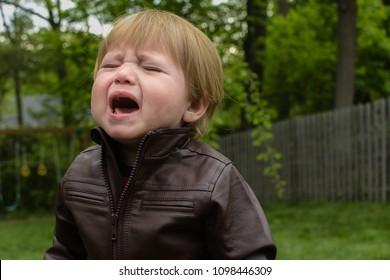 Crying Wining Toddler Kid Child outside