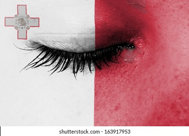 Crying woman, pain and grief concept, flag of Malta