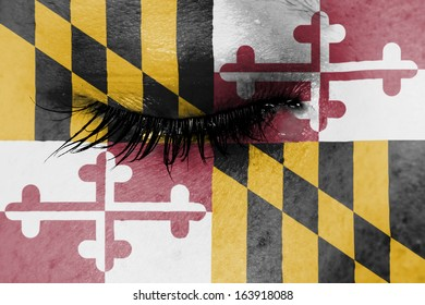 Crying woman, pain and grief concept, flag of Maryland