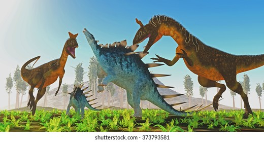 Cryolophosaurus attacks Kentrosaurus - A Kentrosaurus female rears up to defend her offspring from two carnivorous Cryolophosaurus dinosaurs.