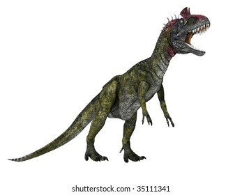 Cryolophosaurus dinosaur in action with mouth open and teeth showing. Illustration on clean white background